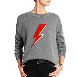 Ladies Intarsia Knitting Gray Cashmere Sweater Custom Design Sweater