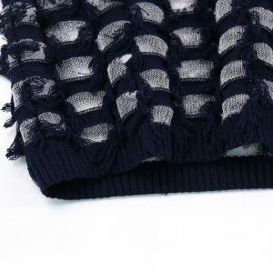 Fashion design women sweater 2021 cut fringe sheer plus size pullover knitwear sweater