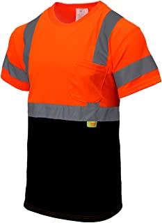 New York Hi-Viz Workwear NY BFS High-Visibility Class 3 T Shirt with Moisture Wicking Mesh Birdseye, Black Bottom