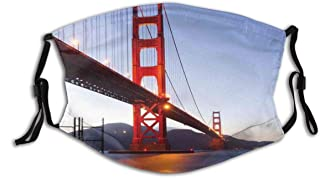 BYJHMB Cityscape San Francisco Bridge Print Cotton Washable Nose Wired Face Cover Filter Pocket Wide Cover with Filter