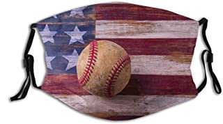 BYJHMB Old Baseball On American Flag Cotton Washable Nose Wired Face Cover Filter Pocket Wide Cover with Filter