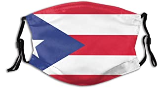 BYJHMB Puerto-rico-flag-533736085 Cotton Washable Nose Wired Face Cover Filter Pocket Wide Cover with Filter